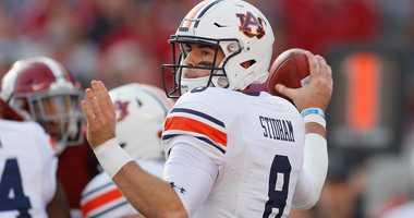 Auburn quarterback Jarrett Stidham throws a pass against Alabama in 2018.