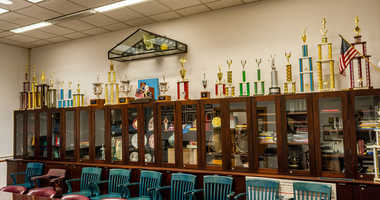 Trophy case at Stuyvesant High School.