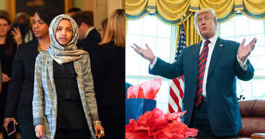 Rep. Ilhan Omar and President Donald Trump.