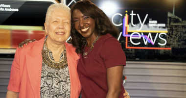 1010 WINS' Sharon Barnes Water with Marla Andrews, daughter of Tuskegee Airman Captain Lawrence E Dickson.