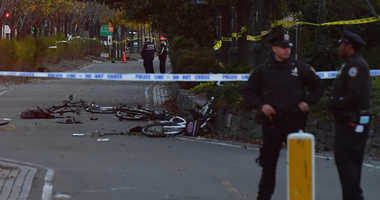 Oct 31, 2017; New York, NY, USA; Police secure the scene at a bike path at Houston Street and West Street in lower Manhattan after a motorist drove onto the path near the World Trade Center memorial, striking and killing several people.