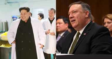 Kim Jong Un and Mike Pompeo