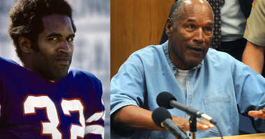 O.J. Simpson in his No. 32 jersey (left) when he played for the Buffalo Bills, and Simpson (right) attends a parole hearing at Lovelock Correctional Center July 20, 2017 in Lovelock, Nevada.