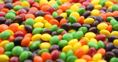 A pile of loose Skittles