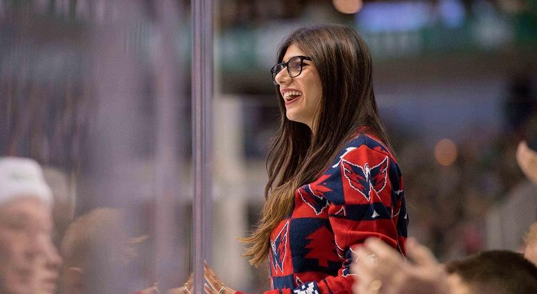 Social media personality Mia Khalifa watches the Washington Capitals.