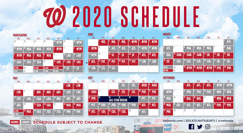 image regarding Washington Nationals Printable Schedule called Nationals 2020 regular monthly year timetable 106.7 The Admirer