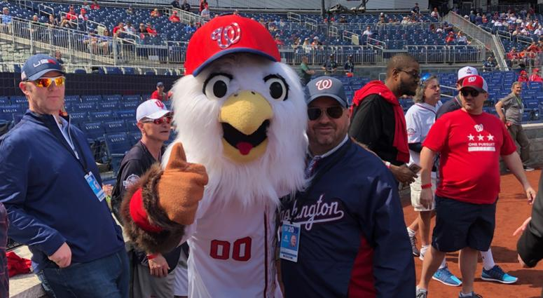 Cakes and his best bud Screech at Nats Park.