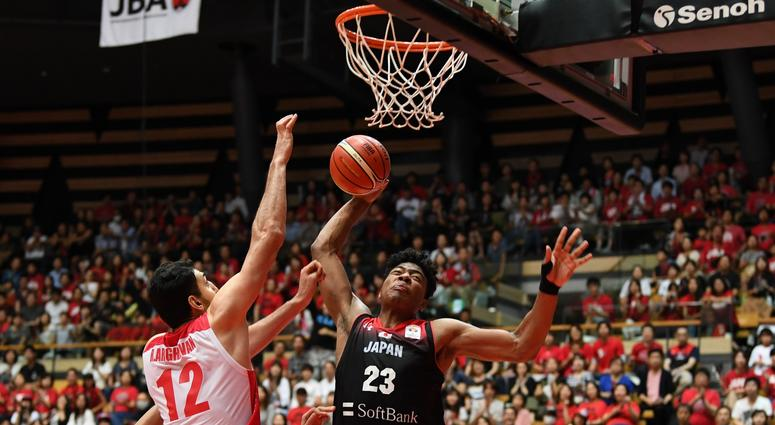 Rui Hachimura of Japan goes up for a dunk during the FIBA Men's World Cup Asian Qualifier against Iran in Tokyo on September 17, 2018