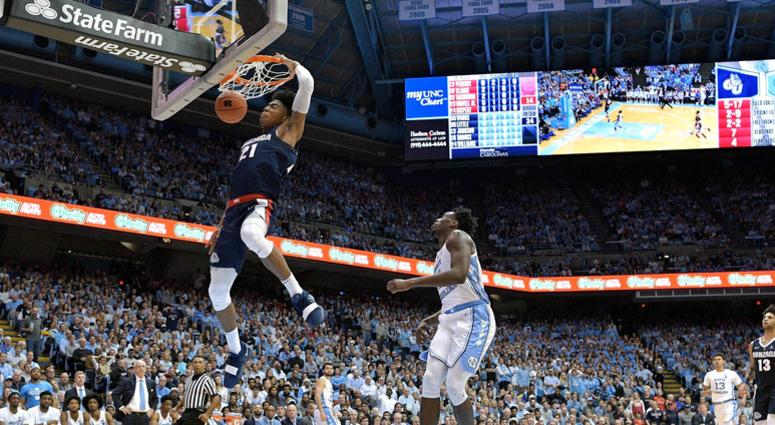 Rui Hachimura dunks on the Carolina Tar Heels during a game at the Dean Smith Center on December 15, 2018