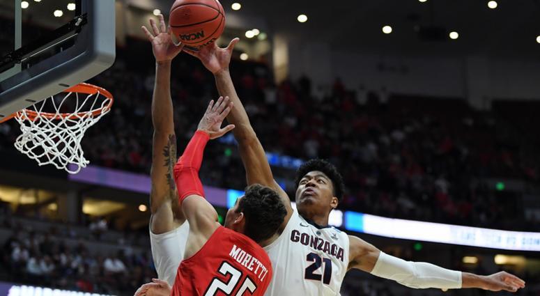 Gonzaga's Rui Hachimura blocks the shot of Davide Moretti of Texas Tech in the 2019 NCAA Men's Basketball Tournament West Regional