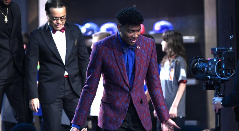 Rui Hachimura is introduced before the start of the 2019 NBA Draft