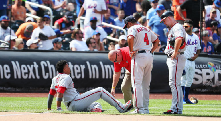 Juan Soto leaves Nationals win over Mets with ankle sprain.
