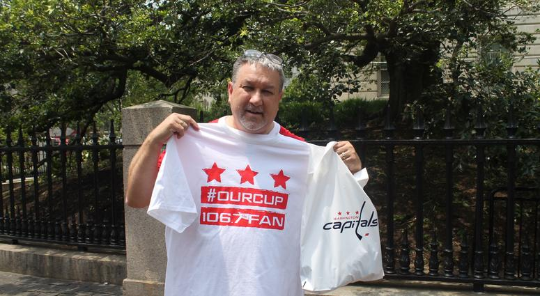 The 106.7 The Fan Street Team gives out #OurCup t-shirts  in honor of The Washington Capitals winning the 2018 Stanley Cup Finals.