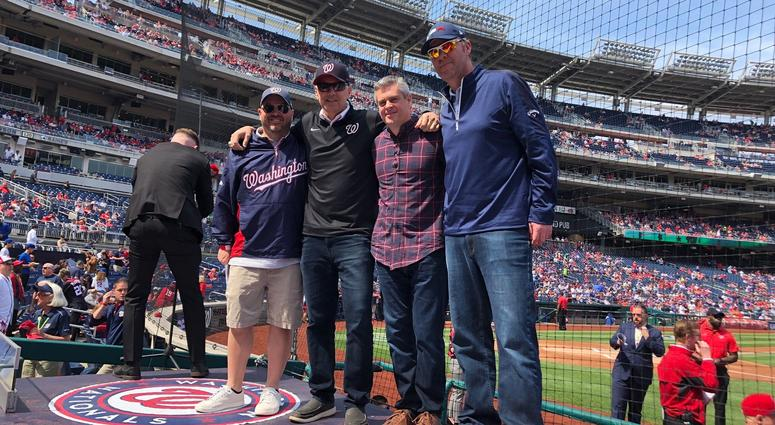 The Sports Junkies on the Nationals dugout at The Fan Day.