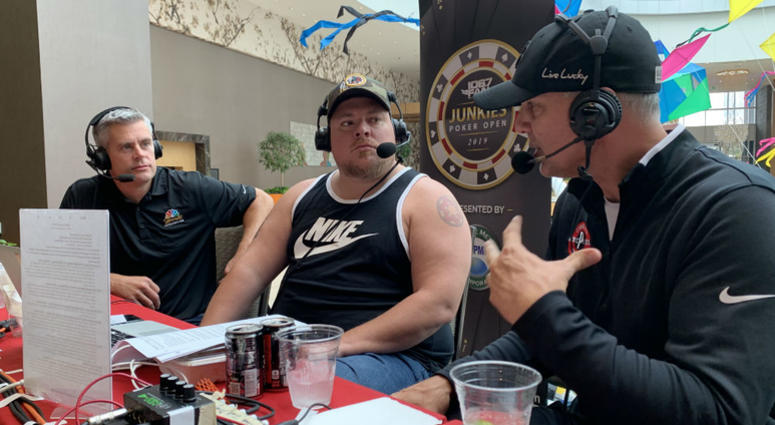 JP, Chad Dukes and EB during a live broadcast at MGM National Harbor at Junkies Poker Open 2019.