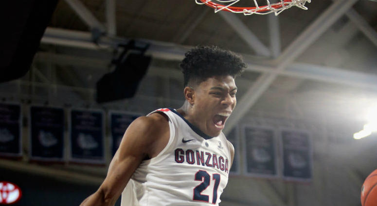 Rui Hachimura reacts after a dunk in a February 2019 game against the Saint Mary's Gaels