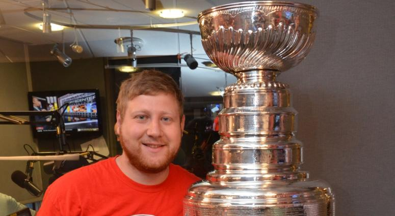 Junkies video producer Adam 'Awadd' Epstein poses with the Stanley Cup