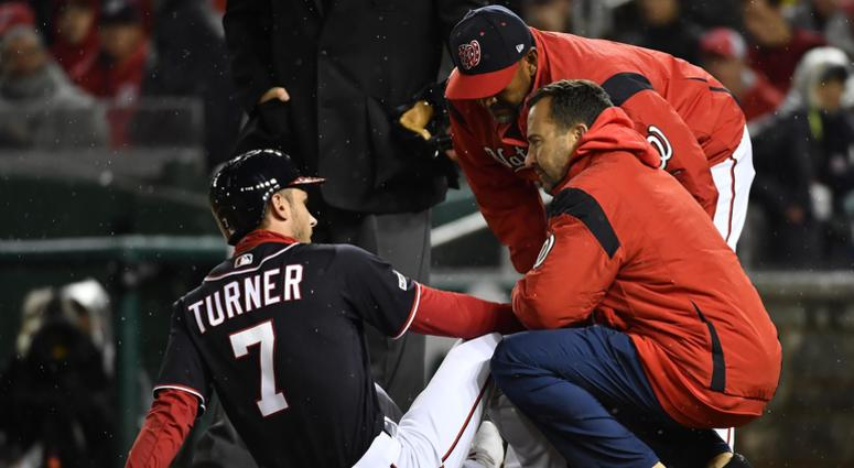 Trea Turner suffers a broken finger.