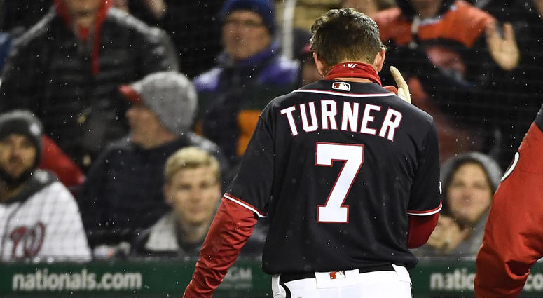 Nationals shortstop Trea Turner walks off the field after suffering an injury.