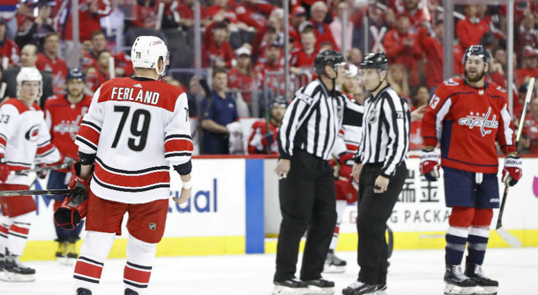 Hurricanes forward Micheal Ferland received a misconduct for hit to Capitals' Nic Dowd.