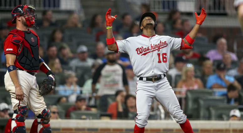 Nationals OF Victor Robles celebrates hitting a home run.