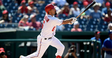 Anthony Rendon hits an RBI double against the Kansas City Royals.