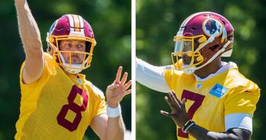 Redskins quarterbacks Case Keenum and Dwayne Haskins