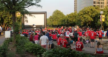 The 106.7 The Fan Street Team joins fans at a live viewing of the Capitals vs.Lighting game at Gateway Park, Rosslyn, VA.