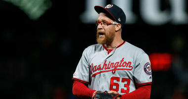 Nationals closer Sean Doolittle celebrates a win over the Giants.