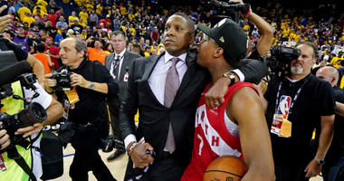 Raptors president Masai Ujiri is being accused of pushing, hitting sheriff's deputy at NBA Finals.