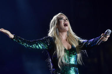 June 8, 2018; Nashville, TN, USA; Carrie Underwood performs at the 2018 CMA Music Fest at Nissan Stadium.