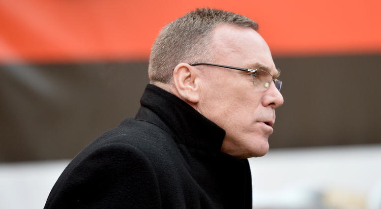 Dec 17, 2017; Cleveland, OH, USA; Cleveland Browns general manager John Dorsey walks onto the field before the game between the Cleveland Browns and the Baltimore Ravens at FirstEnergy Stadium. Mandatory Credit: Ken Blaze-USA TODAY Sports