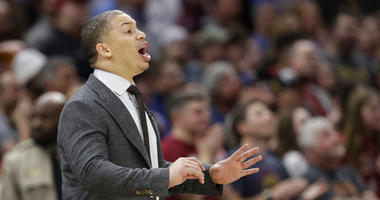 Cleveland Cavaliers head coach Tyronn Lue yells instructions to players in the second half of an NBA basketball game against the Washington Wizards, Thursday, April 5, 2018, in Cleveland. (AP Photo/Tony Dejak)