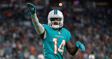 Miami Dolphins wide receiver Jarvis Landry (14) celebrates after his touchdown against the Oakland Raiders during the second half at Hard Rock Stadium. Mandatory Credit: Jasen Vinlove-USA TODAY Sports