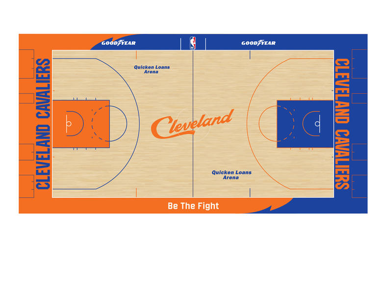 """df580060c10 Centered at the west sideline is the Cavs 2018-19 season call to action,  """"Be The Fight."""" Each baseline displays the Cleveland Cavaliers wordmark and  Quicken ..."""