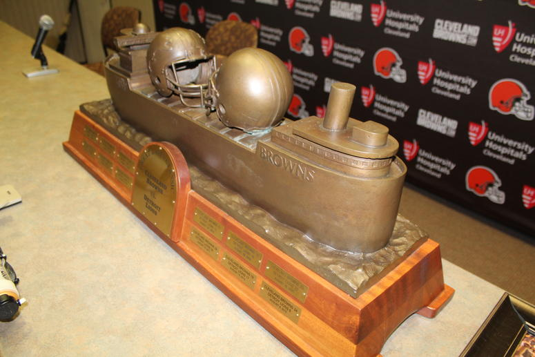 A file photo of the Browns-Lions Great Lakes Classic trophy