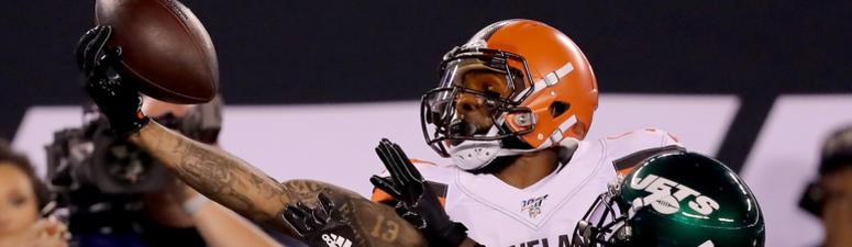 OBJ 1-handed catch, officials pull him because of visor v Jets