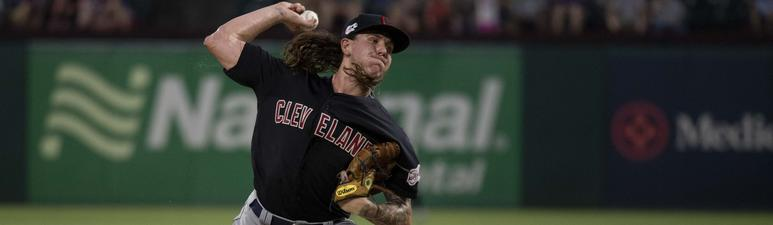 Jun 17, 2019; Arlington, TX, USA; Cleveland Indians starting pitcher Mike Clevinger (52) pitches against the Texas Rangers during the game at Globe Life Park in Arlington. Mandatory Credit: Jerome Miron-USA TODAY Sports
