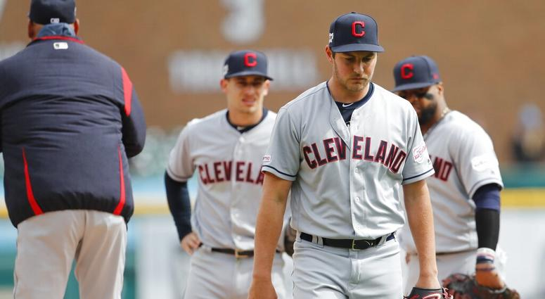 Cleveland Indians starting pitcher Trevor Bauer is relieved during the sixth inning of a baseball game against the Detroit Tigers, Wednesday, April 10, 2019, in Detroit. (AP Photo/Carlos Osorio)