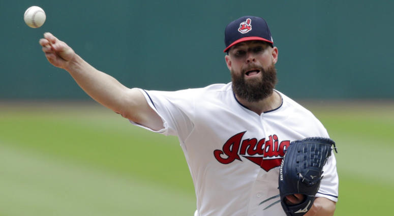 Cleveland Indians starting pitcher Corey Kluber delivers in the first inning of a baseball game against the Chicago White Sox, Wednesday, May 30, 2018, in Cleveland. (AP Photo/Tony Dejak)