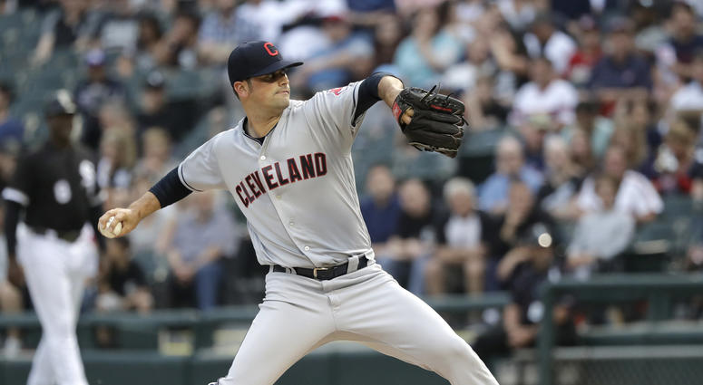 Cleveland Indians starting pitcher Adam Plutko delivers during the first inning of the teams baseball game against the Chicago White Sox on Tuesday, June 12, 2018, in Chicago.