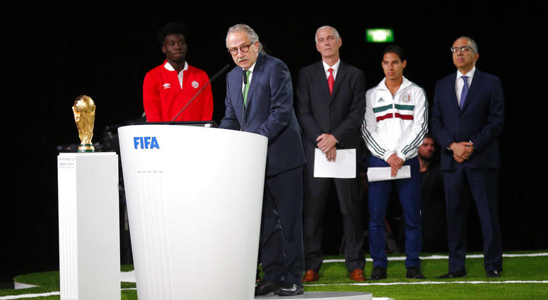 Decio de Maria, President of the Football Association of Mexico, speaks at the FIFA congress on the eve of the opener of the 2018 soccer World Cup in Moscow, Russia, Wednesday, June 13, 2018. The congress in Moscow is set to choose the host or hosts for t