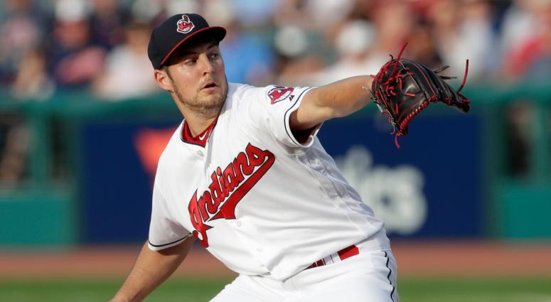 Cleveland Indians starting pitcher Trevor Bauer delivers in the first inning of a baseball game against the Chicago White Sox, Monday, June 18, 2018, in Cleveland.