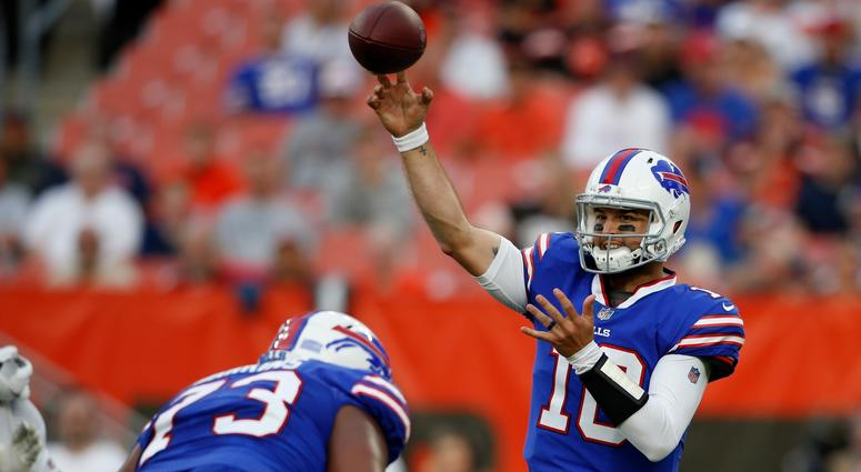 Buffalo Bills quarterback AJ McCarron throws during the first half of the team's NFL football preseason game against the Cleveland Browns, Friday, Aug. 17, 2018, in Cleveland.