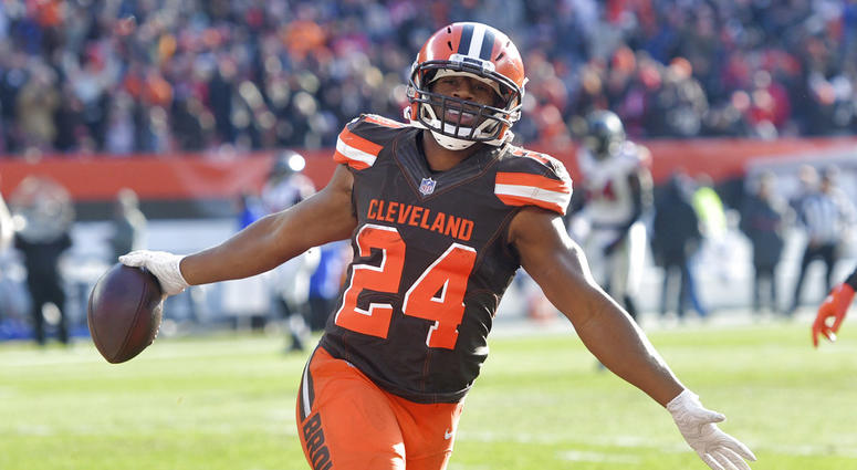 official photos 04cb9 c7474 Nick Chubb 92-yard TD run leads Cleveland Browns' in 28-16 ...