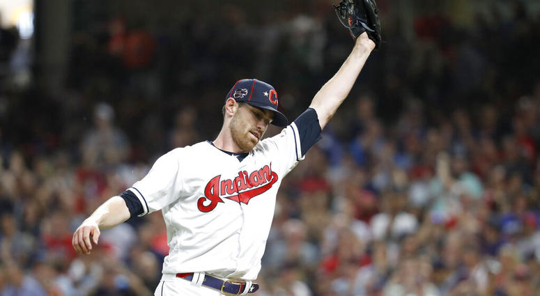 American League pitcher Shane Bieber, of the Cleveland Indians, reacts after striking out National League's Ronald Acuna Jr., of the Atlanta Braves, to end the top of the fifth inning of the MLB baseball All-Star Game, Tuesday, July 9, 2019, in Cleveland.