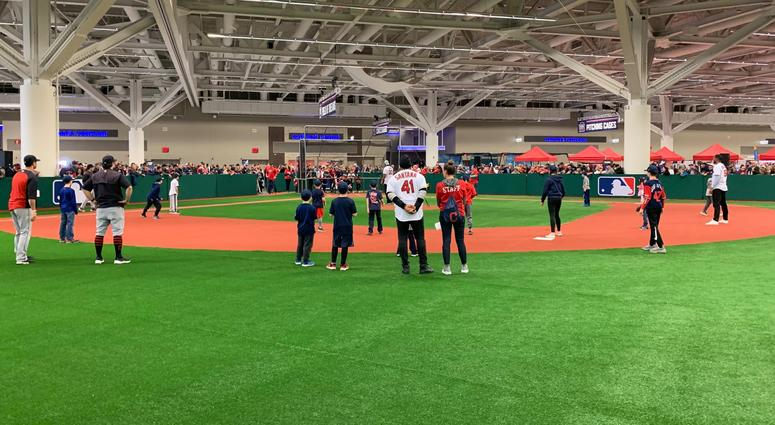 Young baseball players took the field for some wiffle ball action