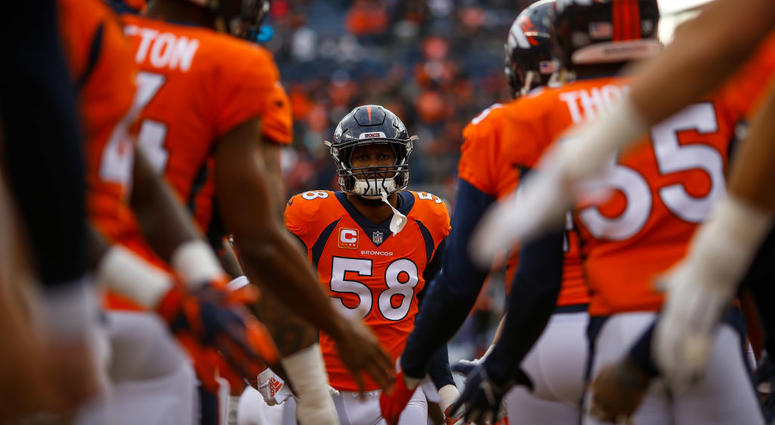 DENVER, CO - DECEMBER 30: Outside linebacker Von Miller #58 of the Denver Broncos runs onto the field before a game against the Los Angeles Chargers at Broncos Stadium at Mile High on December 30, 2018 in Denver, Colorado. (Photo by Justin Edmonds/Getty I