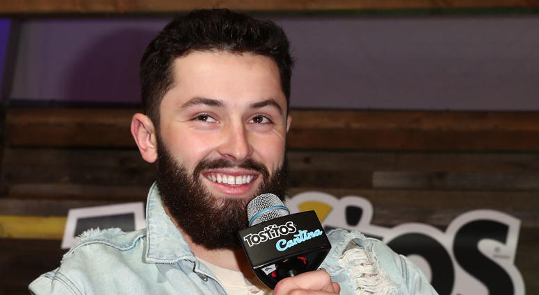 ATLANTA, GA - FEBRUARY 01: Professional football player Baker Mayfield speaks at The Tostitos Cantina at Super Bowl LIVE in Atlanta, Georgia. (Photo by Joe Scarnici/Getty Images for Tostitos)