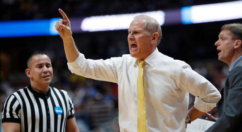 ANAHEIM, CALIFORNIA - MARCH 28: Head coach John Beilein of the Michigan Wolverines reacts during the 2019 NCAA Men's Basketball Tournament West Regional game against the Texas Tech Red Raiders at Honda Center on March 28, 2019 in Anaheim, California. (Pho